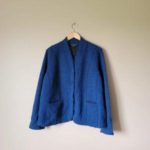 Eileen Fisher Woman Merino Wool Navy Blue Blazer